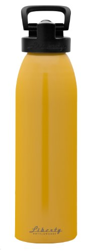 Aluminium Sports Bottle (Liberty Bottleworks Straight Up Aluminum Water Bottle, Made in USA, 32oz, Saffron, Sport Cap)
