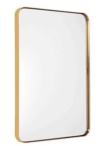 Bathroom Mirror For Wall, Brushed Gold Metal Frame 22