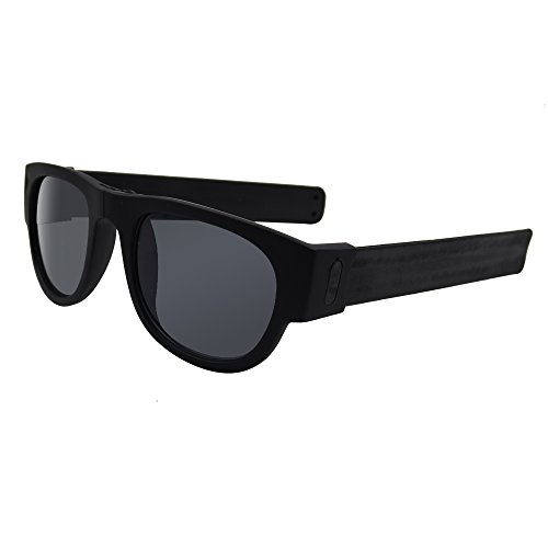 Slap on Folding Stay on Sunglasses. Wrap Around Sunglasses for Active People, Driving, and Action Sports (Black, - Sunglasses Slapsee