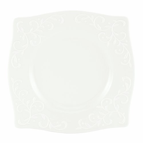 (Lenox Opal Innocence Carved 9-Inch Square Accent Plate)