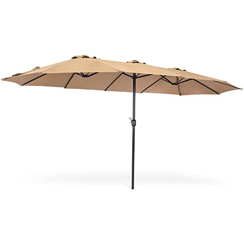 Best Choice Products 15x9ft Large Rectangular Outdoor Aluminum Twin Patio Market Umbrella w/Crank, Wind Vents - Beige (Vent Wind)