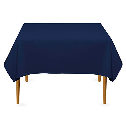 Lanns Linens - 54 Square Premium Tablecloth for Wedding/Banquet/Restaurant - Polyester Fabric Table Cloth - Navy Blue