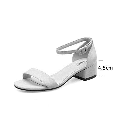 KaiGangHome Mode 4 einfachen wilden den Black cm schwarz mit mit Sandalen Schnalle Schuhe rau Wort Schuhen Size mit 35 Höhe 5 Color rrA4wqdxC