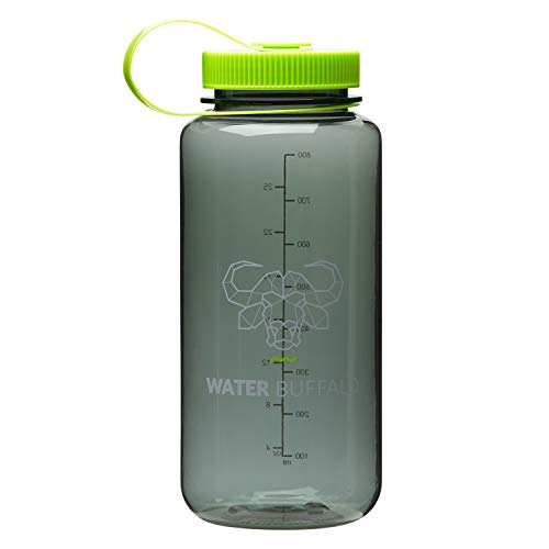 Water Buffalo Eco Friendly Water Bottle - Widemouth Tritan BPA Free Water Bottle 32 Ounce - Small Water Bottle with Measurements for Every Day Use, and Non-Toxic Hydration (Gray/Lime-Green)