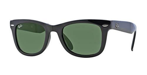 Ray-Ban RB4105 Folding Wayfarer Unisex Sunglasses (Black Frame/Crystal Green Lens 601, 54)