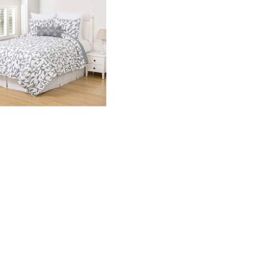 HNU 2 Piece Patterned Scandinavian Style Twin Grey White Quilt Set Floral Motif Nature Pattern Shabby Chic Bedding Reversible Vermicelli Stitching Cotton Quilt Set Envelope Closure Pretty ()