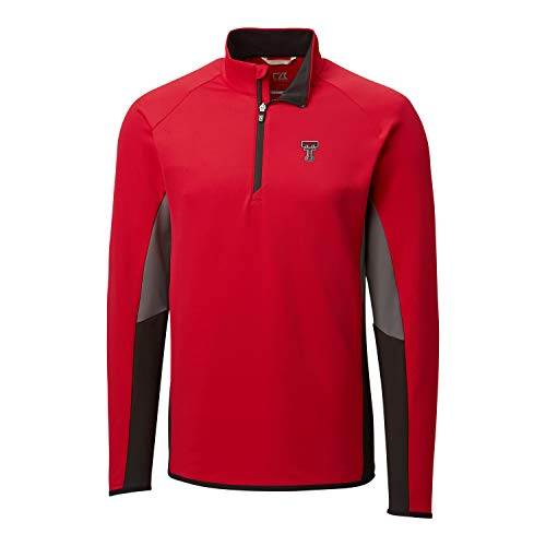 Cutter & Buck NCAA Texas Tech Red Raiders Mens Long Sleeve Traverse Colorblock Half Zip, Red, XXX-Large