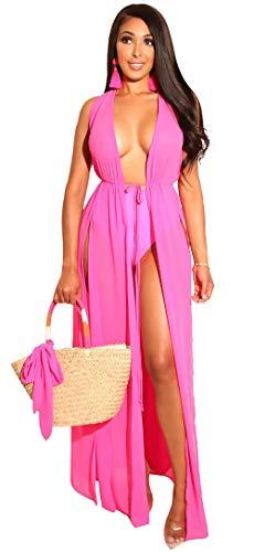 Kearia Women Chiffon Beach Cover Up Maxi Dress Tie Waist Sleeveless Split Side Bikini Swimsuit Long Cardigan Beachwear Rose Red XLarge
