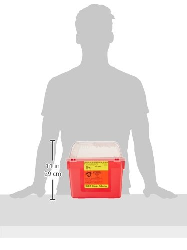 Becton Dickinson 305344 Red Multi-Use Nestable Collector with Regular Funnel Clear Top, 8qt Capacity (Case of 24) by Becton Dickinson (Image #2)