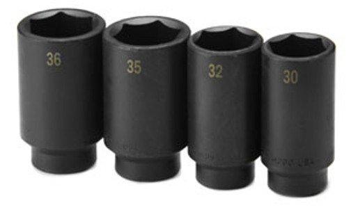 SK Hand Tools 4004 4-Piece 1//2-Inch Drive Axle Nut Deep Impact Socket Set
