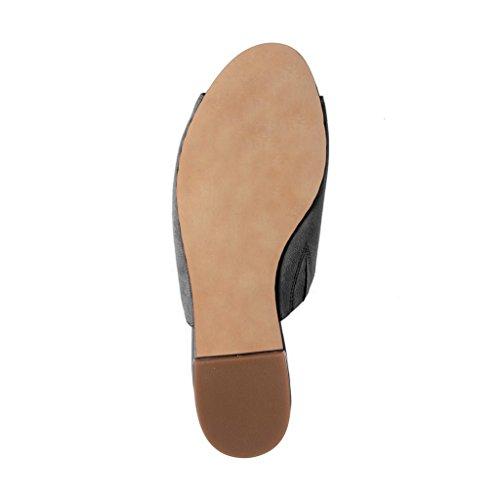 Ydn Mujeres Lace Up Suede Flat Mules Low Heel Peep Toe Zapatillas Cómodas Zapatos Para Caminar Gris Oscuro