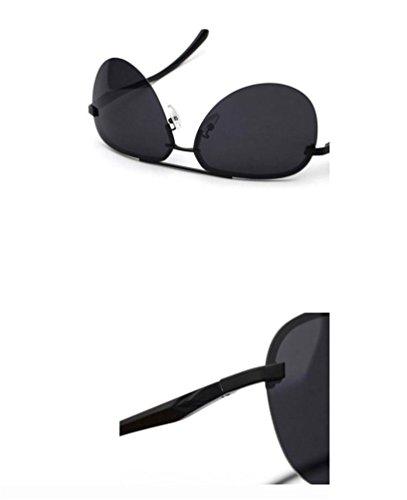 Lunettes de Nouveau Conduite HUHUXIAOWU Soleil gris de Hommes de noir Miroir noir Cadre Soleil Lunettes FRqZad