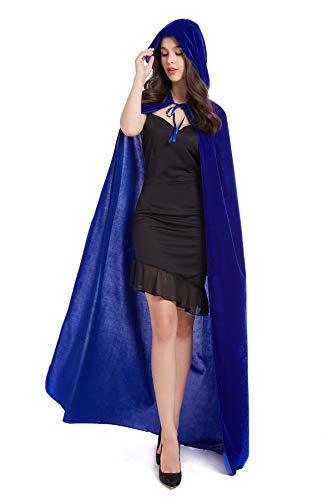 BEBEP 59inches Unisex Long Velvet Hooded Cloak for Halloween Christmas Masquerade Cosplay Costume (Blue)