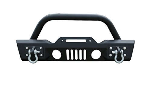 UDIT Black Textured Rock Crawler Front Bumper With Fog Light holes 2x D-Ring & Winch Plate for 07-18 Jeep Wrangler JK