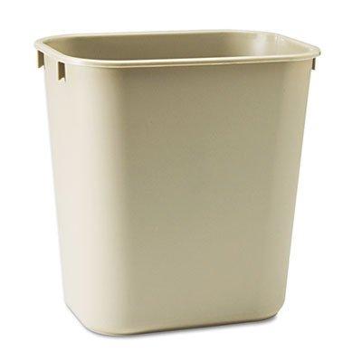 Rubbermaid Commercial Deskside Plastic Wastebasket, Rectangular, 3 1/2 gal, Beige (RCP295500BG)