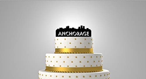 Anchorage Alaska City Skyline Personalized Wedding Cake Topper & Keepsake - For the City Wedding, Personalized with your name or phrase.]()