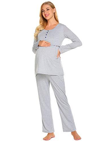 Nightwear Pyjama (Ekouaer Womens Maternity Nursing Set Breastfeeding Pyjamas Nightwear Grey,Light Gray,Small)