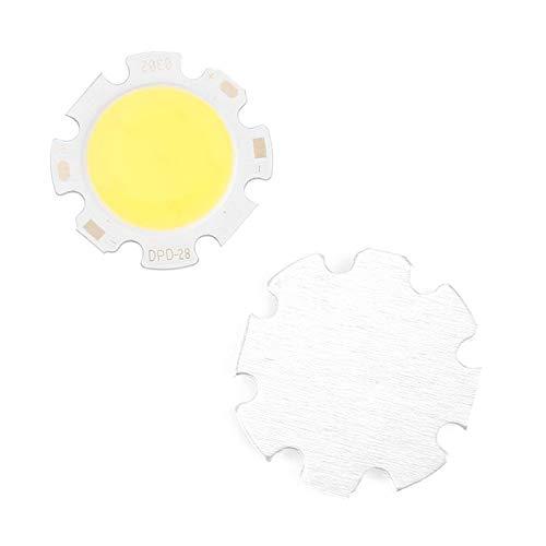5pcs//lot Pure White Round COB Super Bright Long Service Life LED Less Thermal Resistance SMD Chip Light Lamp Bulb DC 9-12V 3W