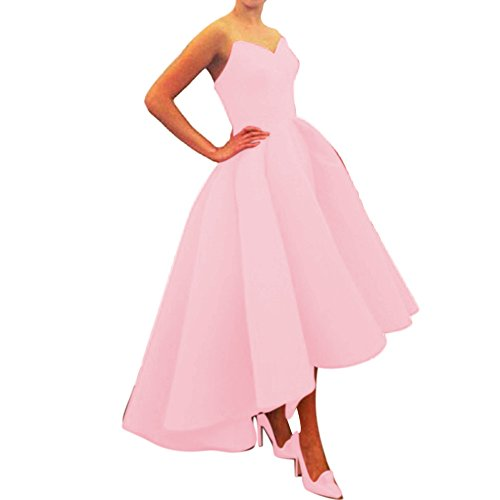 Xoemir High Low Strapless Bridesmaid Prom Gown Pink Evening Satin Dresses, ()