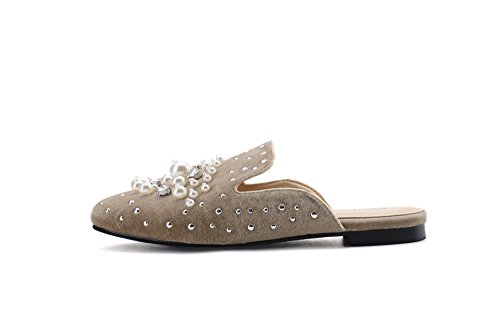 On Loafer New Rhinestone Spikes Pearl Slip with Slides Lady Mules Sylvia Womens and Fashion Nude Shoes Flats Mila Stud 7n0E8qwx