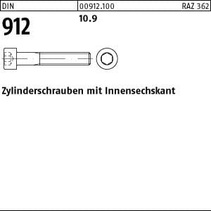 200 Inbus Zylinderkopfschrauben DIN 912 10.9 schwarz M8x50