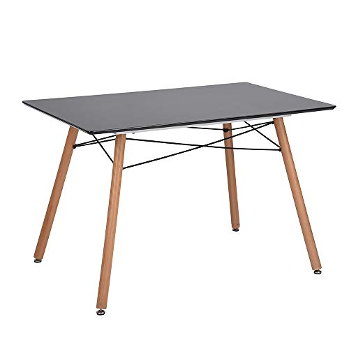 HOMY CASA Mid-Century Rectangle Wooden Top Kitchen Dining Table Multifunction Coffee Table for Home,Office,Patio Black