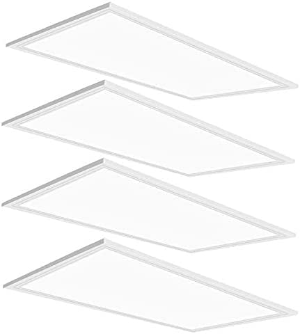 2X4 LED Flat Panel Light,4 Pack,75Watt,0-10V Dimmable,7800 Lumens,5000K Daylight White Color, Drop Ceiling Flat LED Light Panel,Recessed Edge-Lit Troffer Fixture