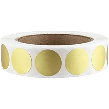 """1"""" Gold Color-Code Dot Labels on Cores - Permanent Adhesive, 1.00 inch - 1,000 Stickers per Roll"""