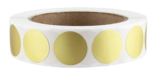 "1"" Gold Color-Code Dot Labels on Cores - Permanent Adhesive, 1.00 inch - 1,000 Stickers per Roll"