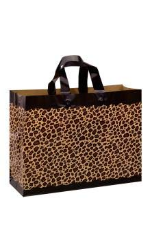 SSWBasics Leopard Frosted Plastic Shopping Bags - 16'' x 6'' x 12'' - Case of 100