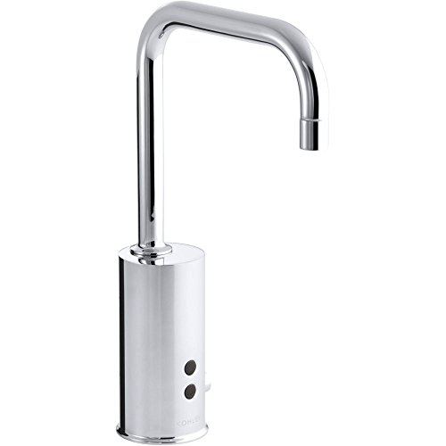 (Kohler 45345-BA-CP Gooseneck single-hole touchless electronic deck-mount faucet with Insight technology and mixer, less drain. Complies with Buy America Act (BAA) and)