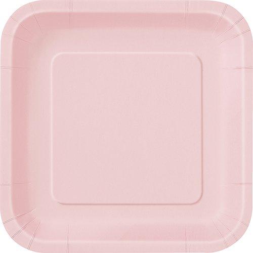 Pastel Pink 9  Square Paper Plates ...  sc 1 st  Amazon UK & 14 x Pale/Pastel Pink SQUARE Paper Plates (9