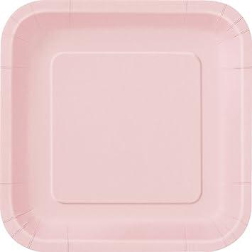 Square Light Pink Paper Plates 14ct  sc 1 st  Amazon.com & Amazon.com: Square Light Pink Paper Plates 14ct: Kitchen u0026 Dining