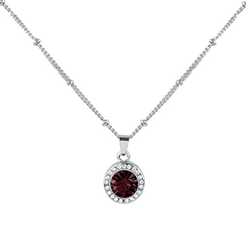 Lux Accessories Synthetic Garnet Siam January Birthstone Pendant Disc Pave Charm Pendant Necklace Birthday Stone