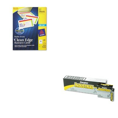KITAVE8876EVEEN91 - Value Kit - Avery Two-Side Printable Clean Edge Business Cards (AVE8876) and Energizer Industrial Alkaline Batteries (EVEEN91)