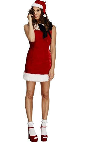 Ladies Fever Cutie Miss Sexy Santa Claus Festive Fancy Dress Costume Outfit (UK 16-18) Red