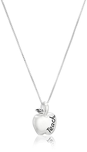 "Sterling Silver ""To Teach Is To Touch Lives Forever"" Reversible Teacher Apple Pendant Necklace, 18"" by Amazon..."