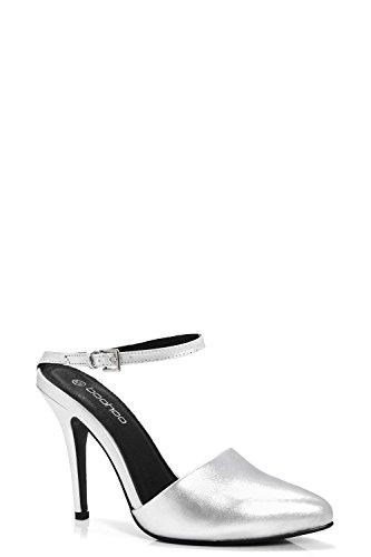 Silber Damen Harriet Spitze, Geschlossene Sandalen Mit Fesselriemchen Und Pfennigabsatz Silber