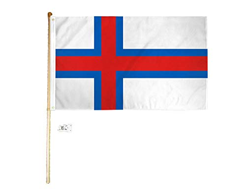 American Wholesale Superstore 3x5 3'x5' Faroe Islands Polyester Flag with 5' (Foot) Flag Pole Kit with Wall Mount Bracket & Screws ()