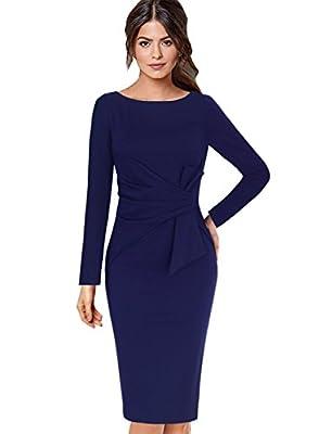 VfEmage Womens Elegant Pleated Waist Bow Wear to Work Office Sheath Dress
