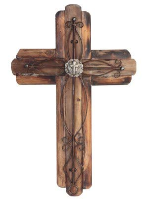 (StealStreet Decorative Wooden Wall Hanging Cross Statue Figurine, 20.5
