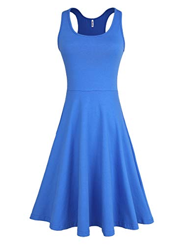 Missufe Women's Racerback Sleeveless Sundress Summer Casual Flared Skater Tank Knee Length Dress (Blue, X-Small)