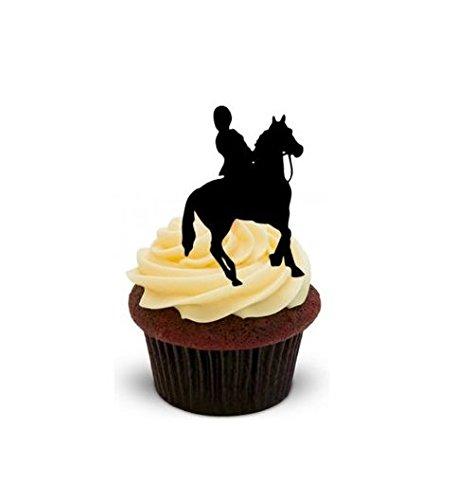 12 essbare hochwertige stehende Kuchen Toppers Horse Rider Silhouette Pferd-Reiter Silhouette