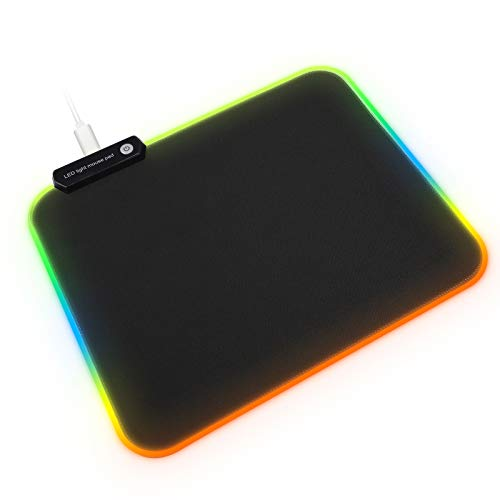(RGB Mouse Pad, Linkstyle LED Cloth Gaming Mouse Pad, Hard Non-Slip Rubber Surface, Lighting Brightness Controls with Edges (9 Lighting Modes), USB Computer Mousepad Mice Mat for Gamer, 12'' x 10'')