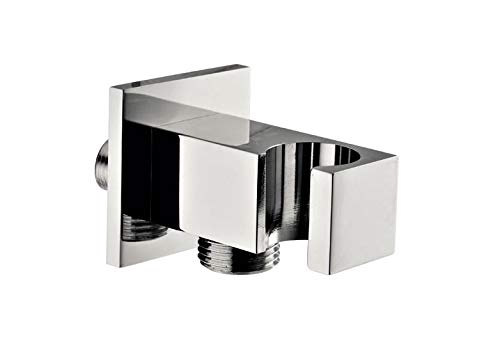 Fixed square shower holder 25x25 mm with water outlet and pink, chrome-plated brass, accessories taps, bath, shower, bathtub, made in