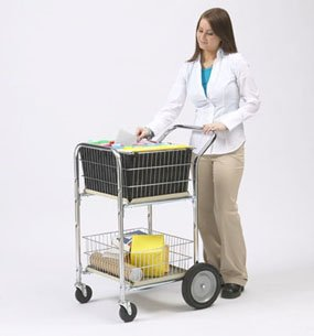 Charnstrom Compact Dual Handle Wire Basket Cart