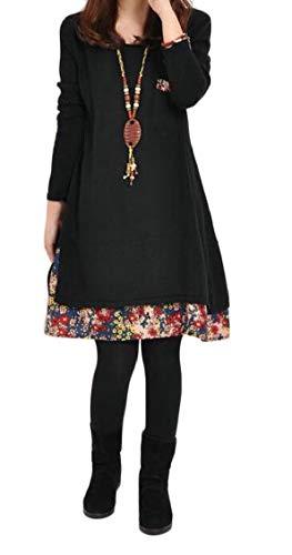 Short Floral Womens Jaycargogo Hem Dress Black Long O Loose Neck Size Large Sleeve vw6AdqSAx5
