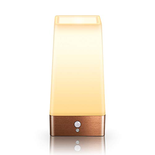 Motion Sensor Night Light, Battery Operated Lamp, Portable Wireless LED Table Bedside Desk Lights for Bedroom, Hallway, Bathroom, Kitchen, Living Room-Square Copper
