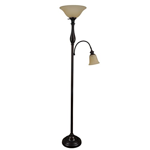 J. Hunt Home Woodbine 72-in Dark Oil Rubbed Bronze Torchiere with Reading Light Floor Lamp with Glass Shade PL1673 (Hunt J)