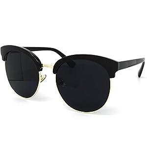 O2 Eyewear 97018 Premium Oversize Cats eye Womens Mens Mirror Funky Flat Sunglasses (BLACK, BLACK / size XL)